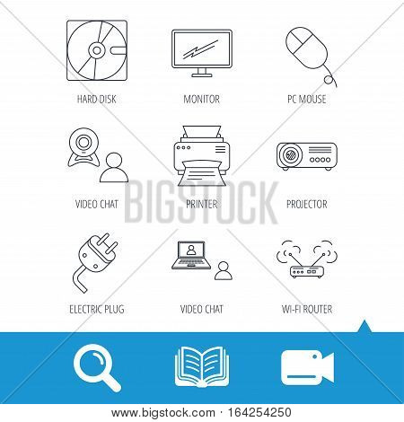 Monitor, printer and wi-fi router icons. Video chat, electric plug and pc mouse linear signs. Projector, hard disk icons. Video cam, book and magnifier search icons. Vector