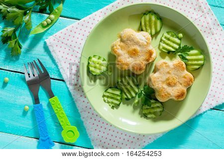 Dinner Or Lunch For Children - Roasted Meat Or Fish Souffle, Steam Cutlets. Food For Children. Top V