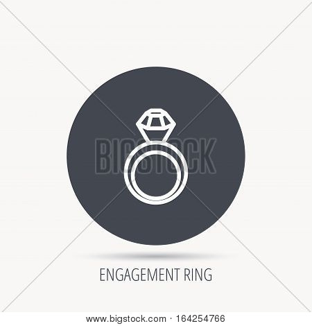 Engagement ring icon. Jewellery with diamond sign. Round web button with flat icon. Vector