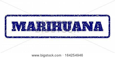 Navy Blue rubber seal stamp with Marihuana text. Vector message inside rounded rectangular banner. Grunge design and unclean texture for watermark labels. Horisontal sign on a white background.