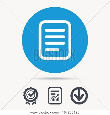File icon. Text document page symbol. Achievement check, download and report file signs. Circle button with web icon. Vector