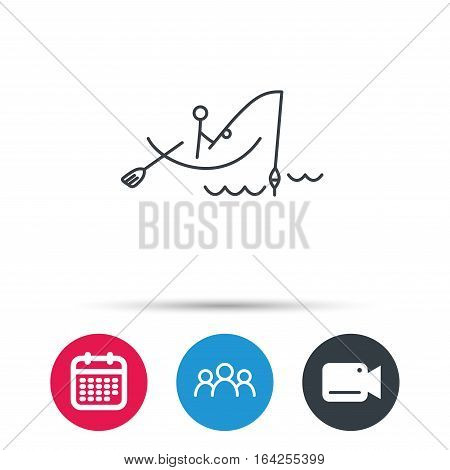 Fishing icon. Fisherman on boat in waves sign. Spinning sport symbol. Group of people, video cam and calendar icons. Vector