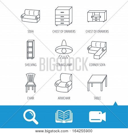 Corner sofa, table and armchair icons. Chair, ceiling lamp and chest of drawers linear signs. Shelving, furniture flat line icons. Video cam, book and magnifier search icons. Vector