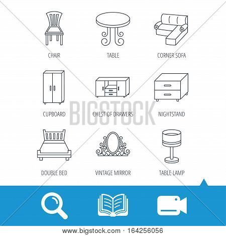 Corner sofa, table and cupboard icons. Chair, lamp and nightstand linear signs. Vintage mirror, double bed and chest of drawers icons. Video cam, book and magnifier search icons. Vector