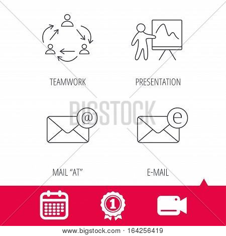 Achievement and video cam signs. Teamwork, presentation and e-mail icons. E-mail inbox linear sign. Calendar icon. Vector