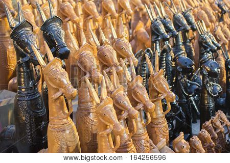 Wooden horses handicrafts of Bankura and Bishnupur on display during the Handicraft Fair in Kolkata earlier Calcutta West Bengal India. It is the biggest handicrafts fair in Asia.