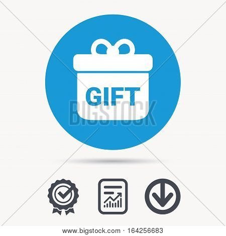 Gift icon. Present box with bow symbol. Achievement check, download and report file signs. Circle button with web icon. Vector