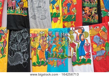 Hand painted colorful cloths handicrafts on display during the Handicraft Fair in Kolkata earlier Calcutta West Bengal India. It is the biggest handicrafts fair in Asia.