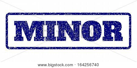 Navy Blue rubber seal stamp with Minor text. Vector message inside rounded rectangular shape. Grunge design and scratched texture for watermark labels. Horisontal sticker on a white background.