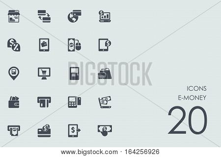 e-money vector set of modern simple icons