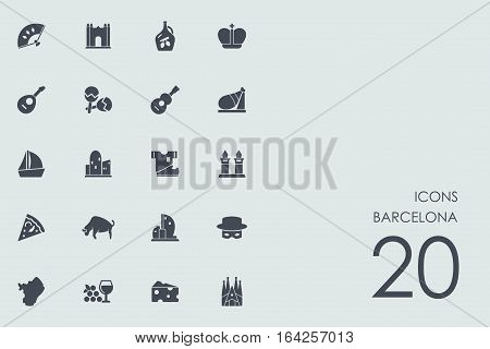 Barcelona vector set of modern simple icons