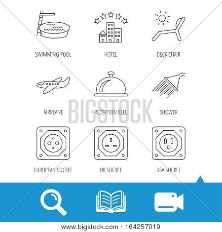 Hotel, swimming pool and beach deck chair icons. Reception bell, shower and airplane linear signs. European, UK and USA socket icons. Video cam, book and magnifier search icons. Vector