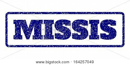 Navy Blue rubber seal stamp with Missis text. Vector tag inside rounded rectangular shape. Grunge design and scratched texture for watermark labels. Horisontal sticker on a white background.