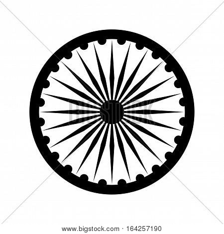 Dharma wheel detail of Indian national flag. Black vector design element isolated on white