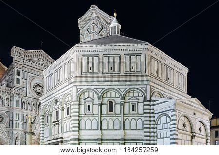 The baptistery in Florence Italy in the night