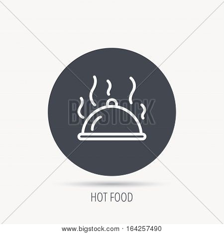 Restaurant cloche platter icon. Hot food sign. Round web button with flat icon. Vector