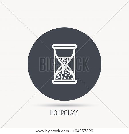 Hourglass icon. Sand time sign. Half an hour symbol. Round web button with flat icon. Vector