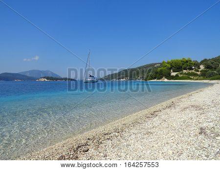 lefkada island greece water sky and boat sea landscape