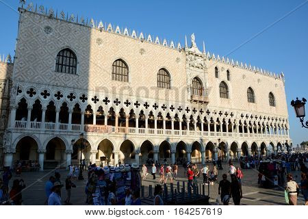 Venice Italy - September 9 2016: Doge's Palace in Venice Italy. Unidentified people visible.