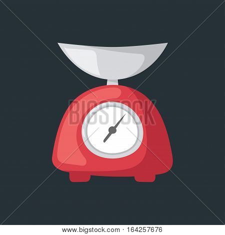 Weighing scales with pan dial measurement. Kitchen appliances or tool preparing baking. Vector illustration domestic calculating balance device.