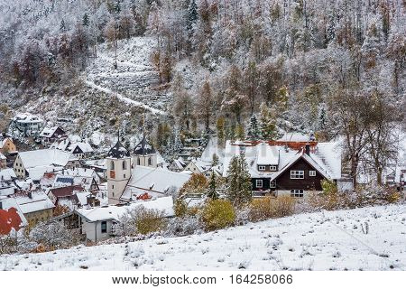 Bird's eye view of Wiesensteig (Baden-Wurttemberg Germany) in winter.