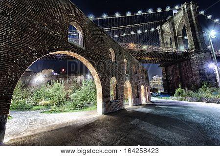 New York City Brooklyn Bridge In The Night