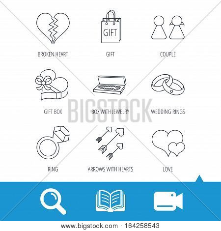 Love heart, gift box and wedding rings icons. Broken heart and couple linear signs. Valentine amour arrows flat line icons. Video cam, book and magnifier search icons. Vector
