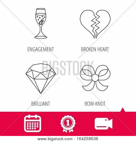 Achievement and video cam signs. Broken heart, brilliant and engagement ring icons. Bow-knot linear sign. Calendar icon. Vector