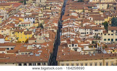 Red roofs of old houses Florence seen from the observation platform of Campanile di Giotto. Florence is the ancient capital city of the Italian region of Tuscany Metropolitan City of Florence.