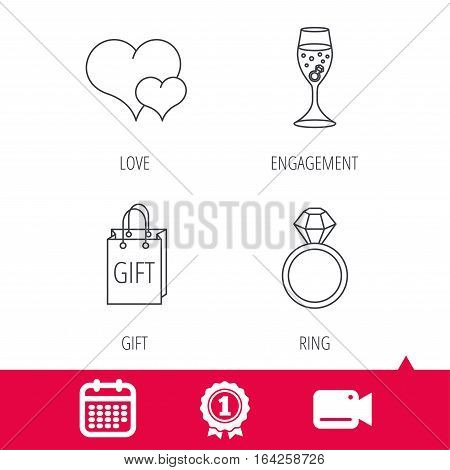 Achievement and video cam signs. Love heart, gift bag and wedding ring icons. Engagement linear sign. Calendar icon. Vector
