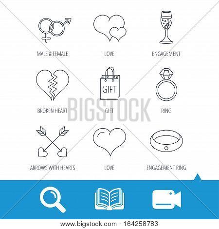 Love heart, gift box and wedding ring icons. Broken heart and engagement linear signs. Valentine amour arrows, brilliant flat line icons. Video cam, book and magnifier search icons. Vector