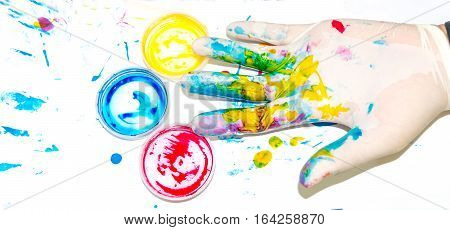 Paint mess ,Primary colors, Hands Wear gloves