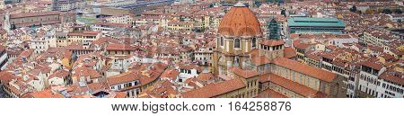 Italy. Florence. Panoramic view seen from the observation platform Cathedral Santa Maria del Fiore.. Florence is the ancient city of the Italian region of Tuscany, on the banks of the River Arno.