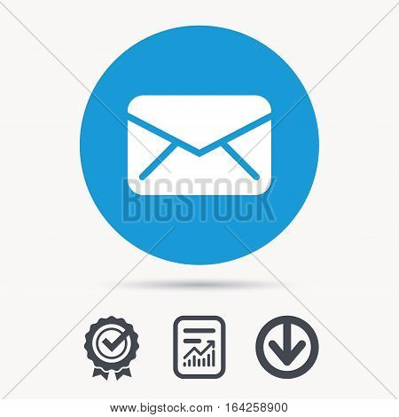 Envelope icon. Send email message sign. Internet mailing symbol. Achievement check, download and report file signs. Circle button with web icon. Vector