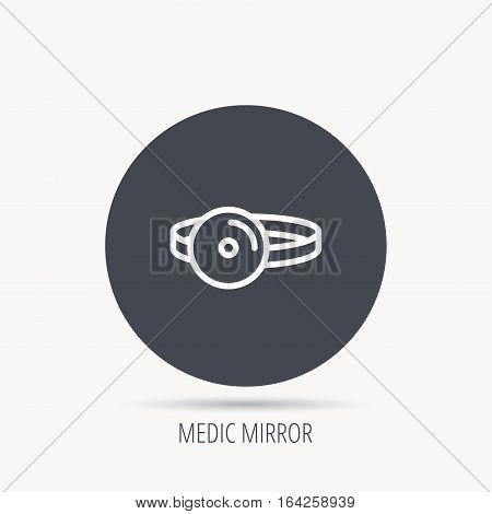 Medical mirror icon. ORL medicine sign. Otorhinolaryngology diagnosis tool symbol. Round web button with flat icon. Vector
