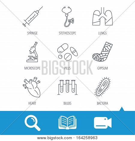 Broken foot, lungs and syringe icons. Stethoscope, pills and microscope linear signs. Bacteria, heart and lab bulbs flat line icons. Video cam, book and magnifier search icons. Vector