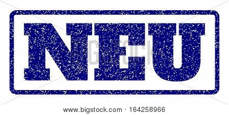 Navy Blue rubber seal stamp with Neu text. Vector tag inside rounded rectangular banner. Grunge design and dust texture for watermark labels. Horisontal emblem on a white background.
