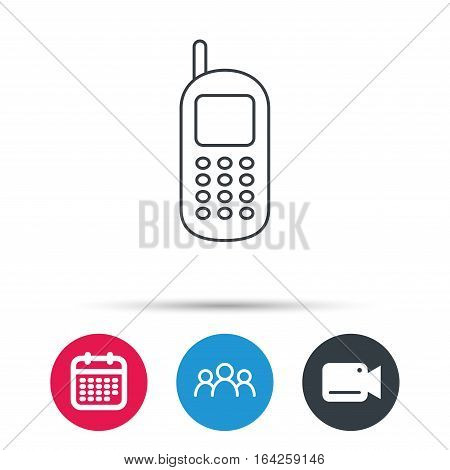 Mobile phone icon. Cellphone with antenna sign. Group of people, video cam and calendar icons. Vector