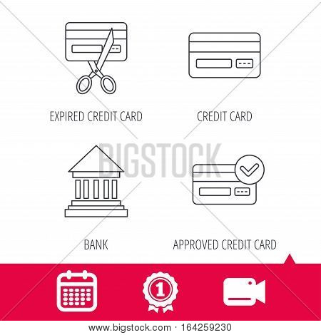 Achievement and video cam signs. Bank credit card, approved card icons. Expired credit card linear sign. Calendar icon. Vector