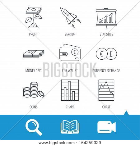 Profit investment, cash money and startup rocket icons. Wallet, currency exchange and euro linear signs. Chart, coins and statistics icons. Video cam, book and magnifier search icons. Vector