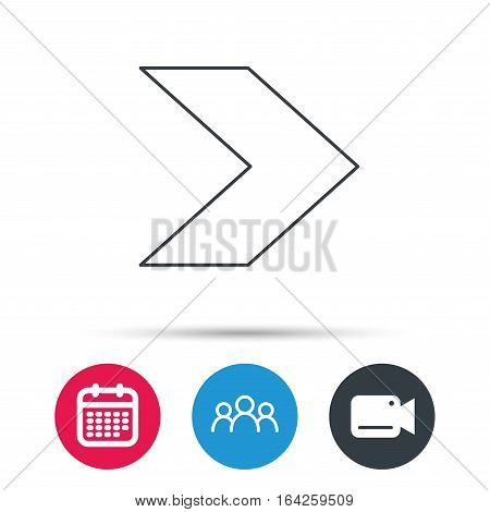 Next arrow icon. Forward sign. Right direction symbol. Group of people, video cam and calendar icons. Vector