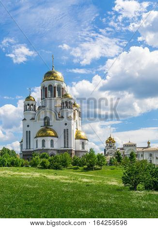 View of Church on Blood in Honor of All Saints Resplendent in the Russian Land Yekaterinburg. Summer view with clouds and sky