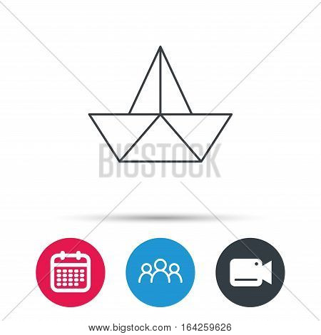 Paper boat icon. Origami ship sign. Sailing symbol. Group of people, video cam and calendar icons. Vector