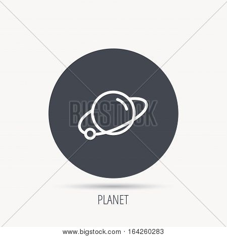 Planet icon. World globe sign. Astronomy symbol. Round web button with flat icon. Vector