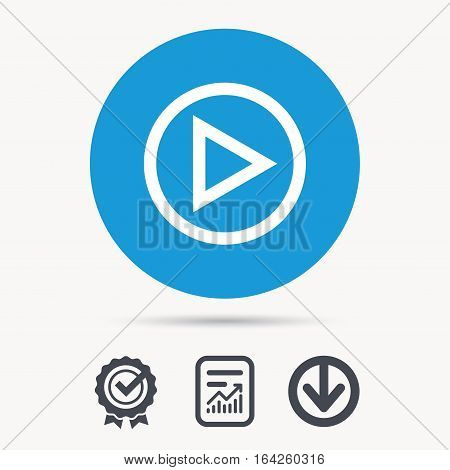 Play icon. Audio or Video player symbol. Achievement check, download and report file signs. Circle button with web icon. Vector