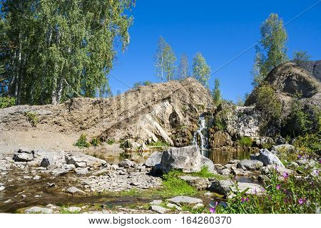 Belovsky waterfall is a natural attraction. The village of Belovo Iskitim district Novosibirsk oblast Russia
