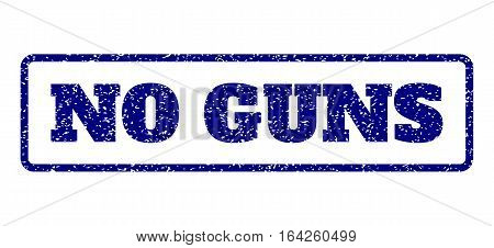 Navy Blue rubber seal stamp with No Guns text. Vector message inside rounded rectangular frame. Grunge design and dust texture for watermark labels. Horisontal sticker on a white background.