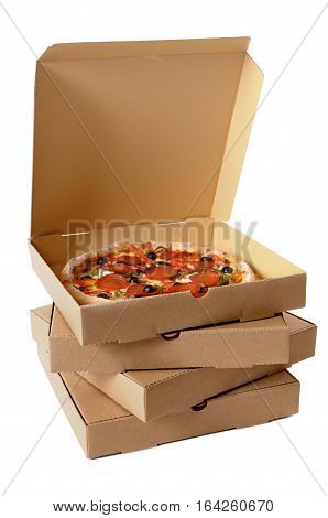 Freshly baked Italian pepperoni Pizza with a stack of delivery boxes