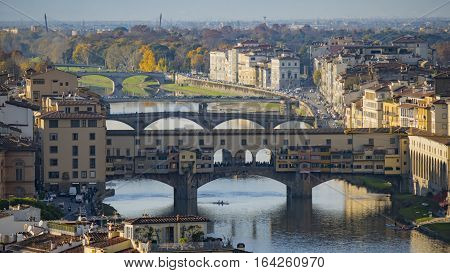 Ponte Vecchio Old Bridge Florence Italy. Florence is the ancient city of the Italian region of Tuscany on the banks of the River Arno.