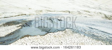 Moment of erupting mud volcano. Background image